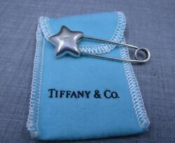 And Co. .925 Sterling Silver 5 Pointed Star Diaper Lapel Pin W/ Pouch 32