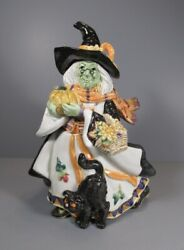 Fitz And Floyd Classics Halloween Harvest Witch Lidded Bowl / Dish