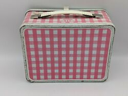Rare 1976 Thermos Pink Gingham Vintage Metal Lunch Box And Matching Bottle No Cup