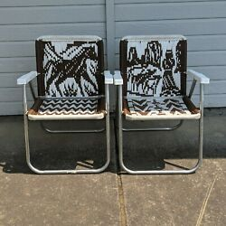 Vintage Pair Aluminum Folding Lawn Chairs Macrame Woven Western Horse Ranch