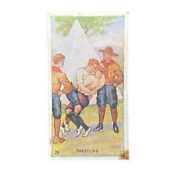 Scout Gum Advertising Trading Cards Early 1900s Antique Boy Scouts Wrestling 24