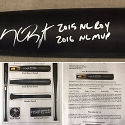 Kris Bryant Chicago Cubs Game Used Chandler Bat 2017 Psa Gu 7.5 Signed And 2 Insc.