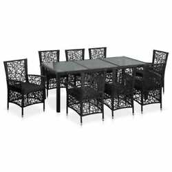 9 Piece Outdoor Patio Furniture Rattan Dining Table Cushioned Chairs Set Black 1