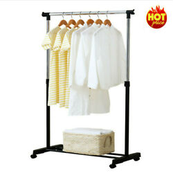 Uk Single Silver Garment Rack Portable Clothes Hanging Rail Stand With Wheels