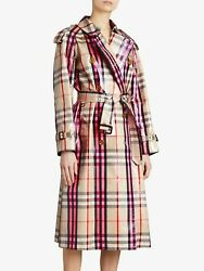 Nwt Laminated Plaid Patent Trench Coat Beige Us 6/ Uk8 Msrp 2695
