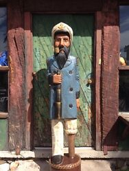 John Gallagher Carved Wooden Sea Captain 6 Ft. Tall Statue Cigar Store Indian