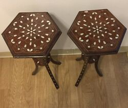 Moroccan Syrian Hand Made Mother Of Pearl Inlaid Brown Wood Side Coffee Tables