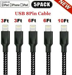 5x Fast Charger Cable Heavy Duty For Iphone 8 7 6 Plus X Xr 11 12 Charging Cord