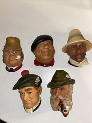 Lot Of 5 Vintage Bossons Chalkware Heads