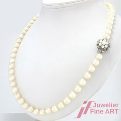 Akoya Pearl Necklace Ø 0 9/32in - 34 21/32in - 2.07oz -14k Wg Buckle - Perfect
