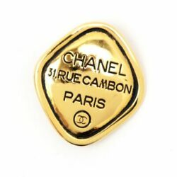 Vintage Cambon Plate Logo Coco Mark Brooch Gold Engraved Metal 114 _35294