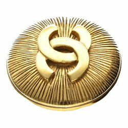 Coco Mark Round Logo Brooch Vintage Metal Gold Women And039s Popular Br _35321