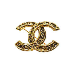 Gold Black Plating Coco Mark Vintage Brooch Women And039s 1108 Engraved _35455