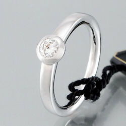 Solitaire Ring - 750/18k White Gold Machines 0,30ct - Tw / Si - 0.2oz Size 53