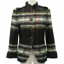 Coco Mark Plaid Jacket Women And039s Lion Button Black White Green Pink _36361