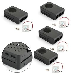 4x Abs Case For Raspberry Pi 4 Model B Enclosure Box With Led Cooling Fan Black