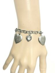 Antique Silver 4 Heart Lockets Charmed Bracelet By Sweet Romance Made In Usa