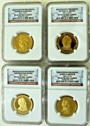 Flawless Presidential 1 Dollar Coins Ngc Pf69 - Set Of 4 17th-20th Presp338
