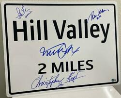 Michael J Fox Back To The Future Cast Signed Hill Valley Sign Prop Replica Bas