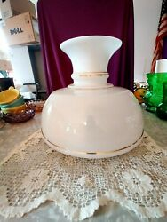 1900-1920 Antique Very Large Oil Lamp Shade White Milk Glass Color Gold Trim