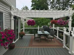 Vynil Pergola Gazebo White 12and039x12and039 Outdoor Patio Garden Shade Yard Pool Durable