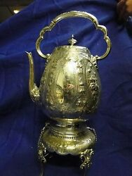 Kettle On Stand Silver Plated Antique Victorian England 1860 Chased And Engraved
