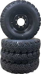 Set Of 4 Skid-steer Snow Tires To Replace 10x16.5 And 12x16.5 Bolt On Ready Black