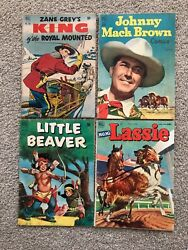 Golden Age Comic Book Lot 4 Books Of Dell Westerns