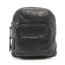 Coco Mark Backpack Razor Black Antique Gold Fittings Secondhand _34843