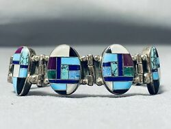 One Of Best Ever Vintage Navajo Turquoise Inlay Sterling Silver Clasp Bracelet