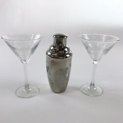 Disney Martini Shaker + 2 Etched Glasses 1990s Mickey Mouse Signed Cocktail Cups