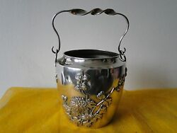 Ice Bucket. Sterling Silver Chinese, Shanghai, Fully Marked C1900, Apllied Work