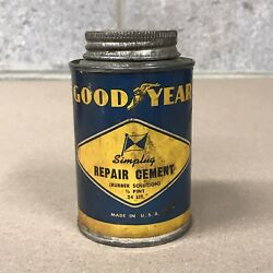 Rare Vintage Goodyear Repair Cement Rubber Solution Tire Kit Can Tin Paper Label
