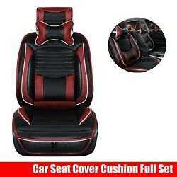Front + Rear Car Seat Cover 5-seats Suv Cushions Full Set Pu Leather Universal