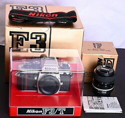 Nikon F3/t Champaign 35mm Film Pro Slr C/w 35-70mm Lens, Display Stand And Straps
