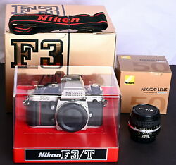 Nikon F3/t Champaign 35mm Film Pro Slr + 50mm F/1.4 Lens, Display Stand And Straps