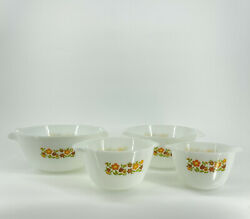 Vintage 70's4 Nesting Mixing Bowls Anchor Fire King Milk Glass Floral Gingham
