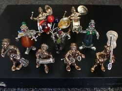 Collection Of 9 Vittorio Angini Solid Silver Gold Plated Clowns