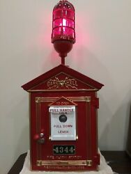 Vintage 1924 Cast Iron Gamewell Fire Alarm Box With Key And Light