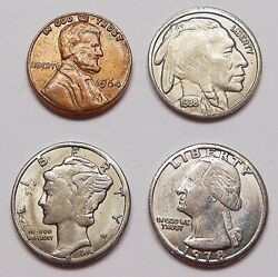 United States 4 Pcs. Play Money 1/6 Scale Scarce Metal Type Seldom Seen U.s.a. Andcent