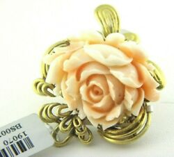 Carved Rose Angelskin Coral Pendant / Brooch Pin Cr.1960 In 14k Solid Gold