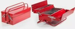 Bbq Barbecue Tool Box Grill Red Portable Charcoal Camping Cooker Storage Cphotos