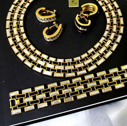 Vtg Runway Rare Napier Book Pc Black And Ice Crystal Necklace Bracelet Earrings
