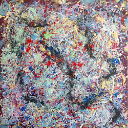 Abstract Expressionist Signed Jackson Pollock American Modernist Oil Painting