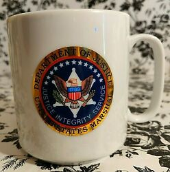 Dept Of Justice Seal United States Marshal Badge Double Side Coffee Cup Mug Euc