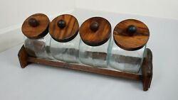 Vintage Set Of 4 Glass Canisters Wood Lids W/holder General Store Candy Jars