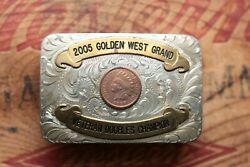 Sss Golden State West Grand Vet Doubles Champion Indian Chief Trophy Belt Buckle