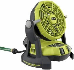 New Ryobi 18-volt One + Portable Bucket Top Misting Fan Tool Only Free Ship 🔥