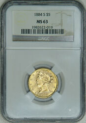 1884-s Ngc Ms63 Pq Liberty 5 Gold Half Eagle Scarce Date Super Mint Luster