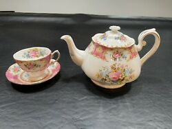 Royal Albert Lady Carlyle Large Teapot And Teacup In Excellent Condition